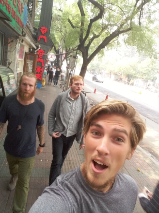 Walking the streets of Beijing with our friend Jon.